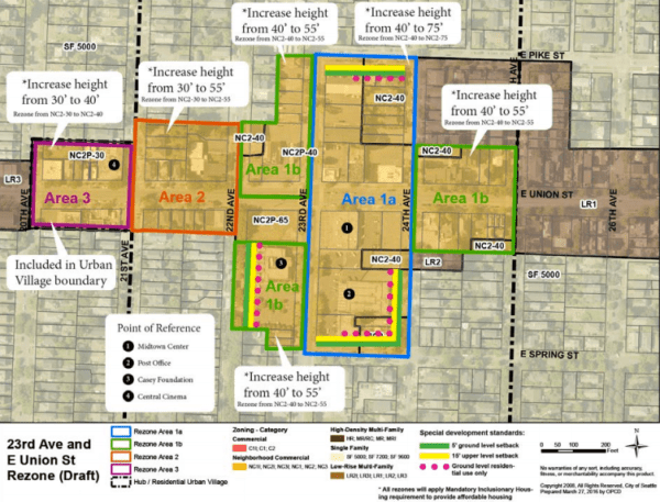 Original urban design framework map for draft rezones and special development standards for the 23rd and Union node. (City of Seattle)