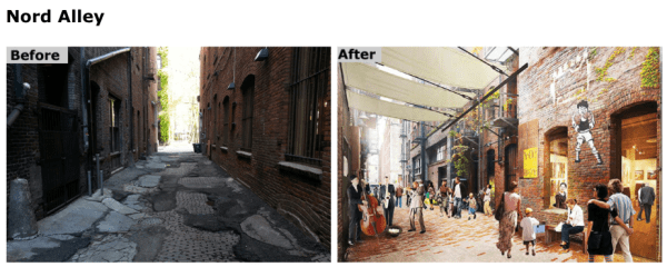 Current conditions and rendering of the future Nord Alley. (City of Seattle)