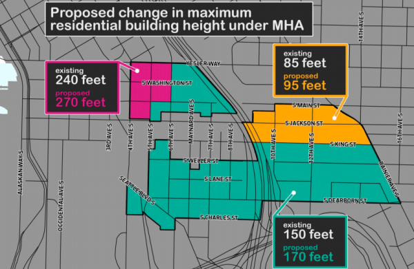 Generalized maximum building heights under the rezone proposal. (City of Seattle)