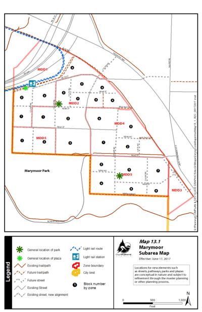 Subarea map for the Marymoor Design District. (City of Redmond)