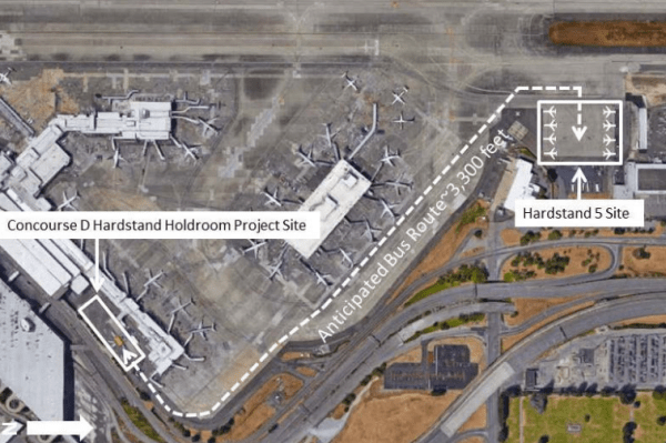 The bus route that will connect the hardstand site and hardstand holdroom. (Port of Seattle)