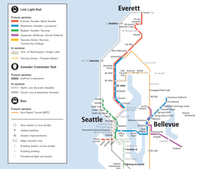 ST3 Systems Expansion map in King and Snohomish counties. Includes light rail extensions to Ballard, West Seattle, Everett, Redmond, Issaquah, South Kirkland and bus rapid transit on I-405 and SR-522. (Sound Transit)