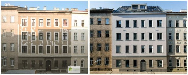 Before and after image of a passivhaus retrofit of gruenderzeit building. (Andreas Kronberger)