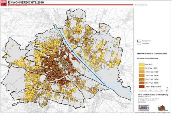 2010 Vienna population density map. (Stadt Wien)