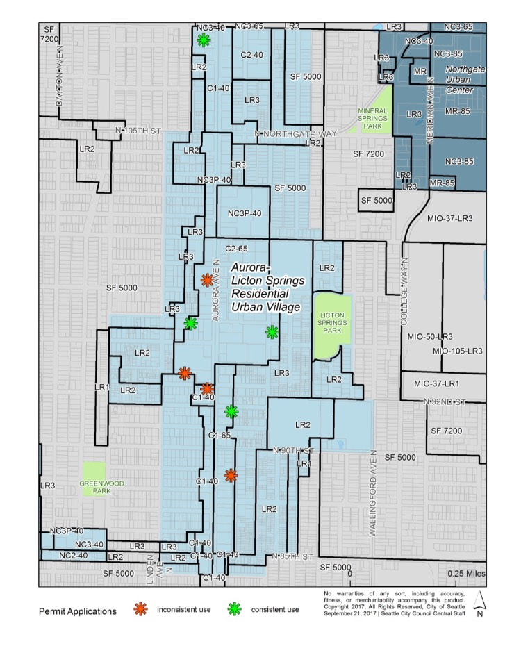 Existing zoning in the Aurora-Licton Springs Urban Village and pending development applications. (City of Seattle)