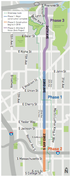 Map of the whole 23rd Avenue corridor including phases and nearby greenway. (City of Seattle)
