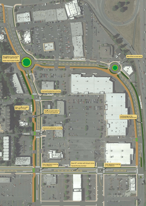 Street design concept for the strip commercial area just north of the Tacoma Mall. (City of Tacoma)