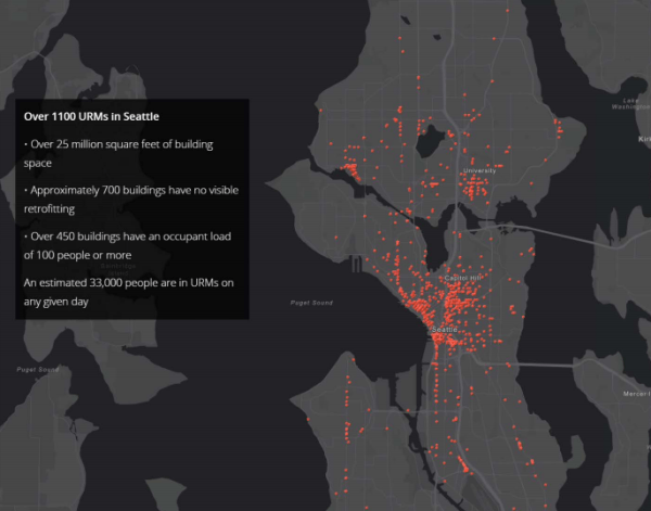 Each dot represents one URM in Seattle. Note that most of these structures are located near Downtown Seattle, Ballard, and University District. (City of Seattle)