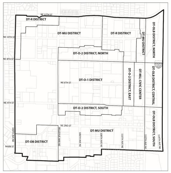 The revised Downtown core zones. (City of Bellevue)