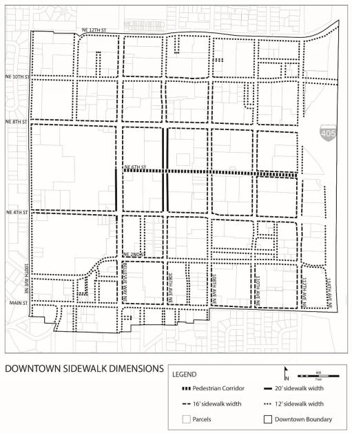 Downtown Bellevue street sidewalk widths. (City of Bellevue)