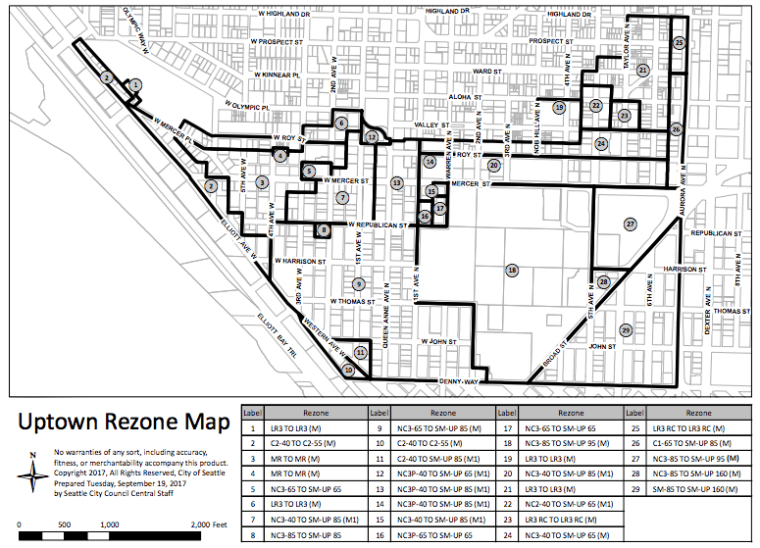 Adopted rezone map for Uptown. (City of Seattle)