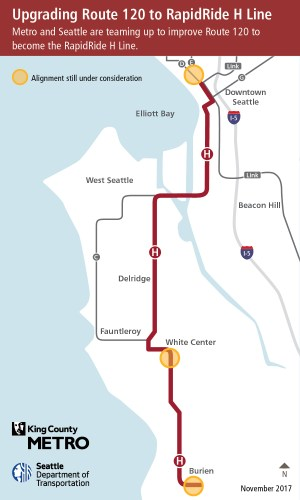 The planned corridor of the RapidRide H Line. (King County / City of Seattle)