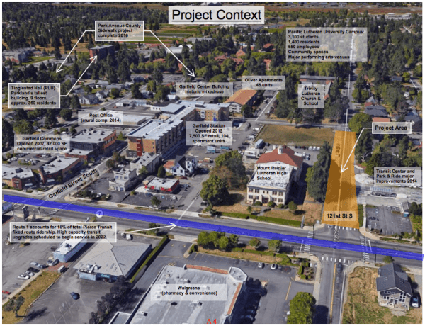Project context aerial for the 121st St S improvements. (Pierce County)