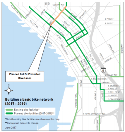 The orange line indicates where the Bell Street protected bike lanes are proposed. (City of Seattle)