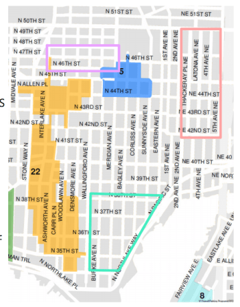 Areas in Wallingford with RPZs and areas where new or expanded ones were requested (denoted by the boxes). (City of Seattle)