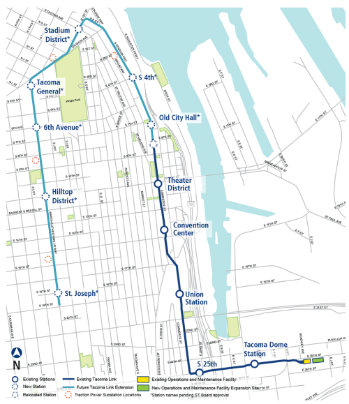 The planned and existing Tacoma Link streetcar line. (Sound Transit)