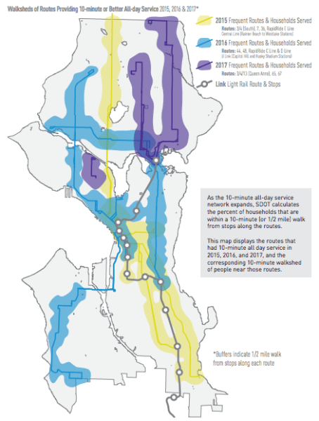 Walksheds of frequent transit service corridors by year. (City of Seattle)
