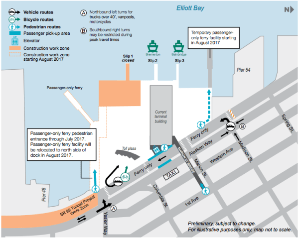 Current operations at the Colman Ferry Dock. (WSF)