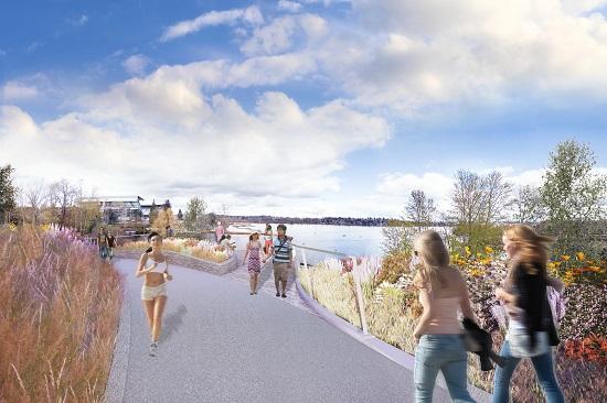 Future trail facility in the arboretum area. (WSDOT)