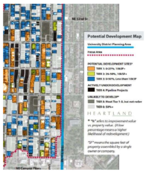 Potential Development Map from the University District Urban Design Framework. (City of Seattle)