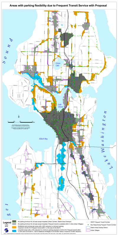 Areas in light grey, orange, and blue may qualify for reduced or eliminated parking requirements due to frequent transit service under the proposal. (City of Seattle)