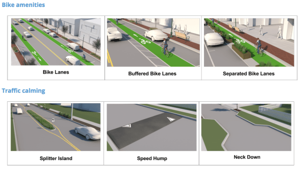 Possible bike facilities and traffic calming measures. (King County)