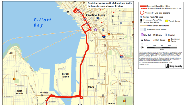 Proposed Downtown Seattle routing and stops. (King County)