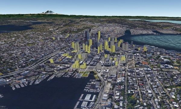 Rendering of South Lake Union with buildings currently under construction (yellow profiles) and completed (grey profiles). (David Boynton)