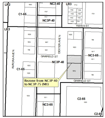 Rezone of the site. (City of Seattle)