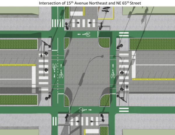 Rendering of a redesigned intersection at NE 65th St and 15th Ave NE. (Joe Mangan)