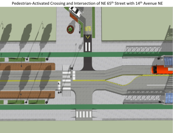 Rendering of pedestrian-activated crossing at intersection at NE 65th St and 14th Ave NE. (Joe Mangan)
