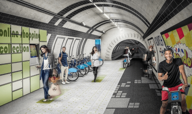 Rendering of an idealized reused London Underground station. (Gensler)