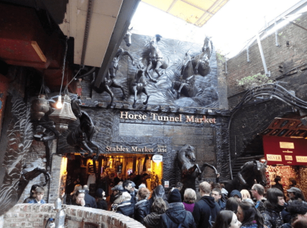 Camden Town, London tunnel reused as an underground market.