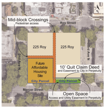 Redevelopment site noted in orange. (City of Seattle)