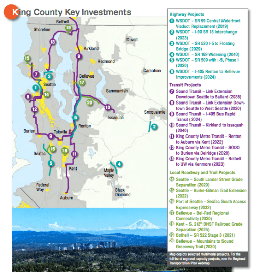 The most significant investments in King County. (PSRC)