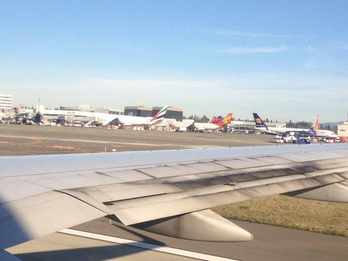 Variety of international carriers at Sea-Tac.