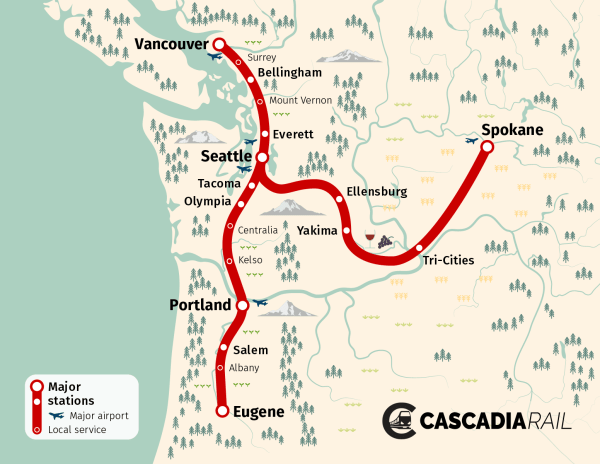 Map of the Week: Cascadia Rail | The Urbanist