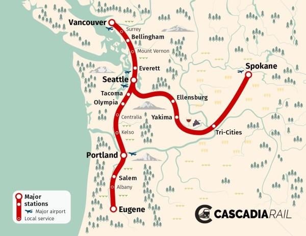 High-speed rail vision by Cascadia Rail. (Cascadia Rail)