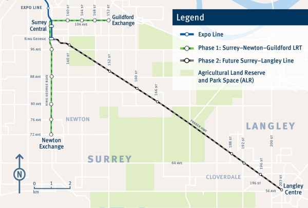 Planned light rail line in Surrey. (TransLink)