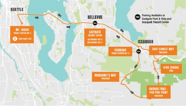 Seattle-Issaquah Trailhead Direct route. (King County)