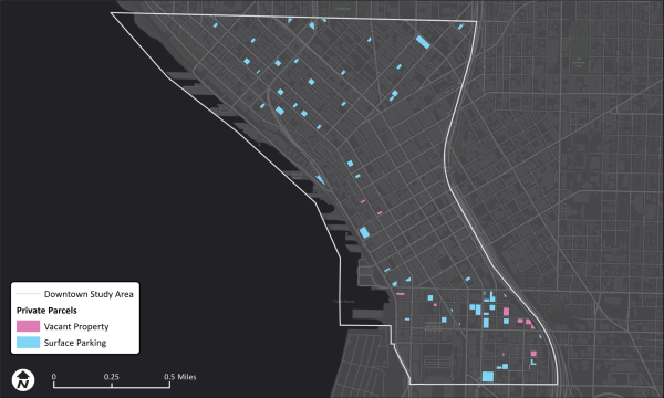 Private surface parking lots and vacant properties in Downtown. (Data provided by permission of King County)