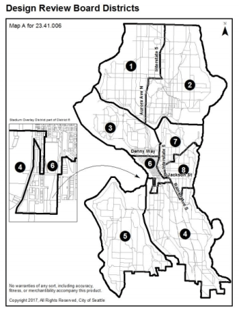The eighth district will be the new Central Area Design Review Board. (City of Seattle)