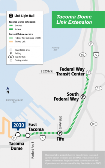 The representative project proposal for the Tacoma Dome Link extension. (Sound Transit)