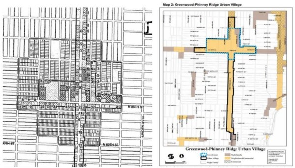 Left: Historic City of Seattle proposed urban village map. Right: Neighborhood planning gerrymandered map.