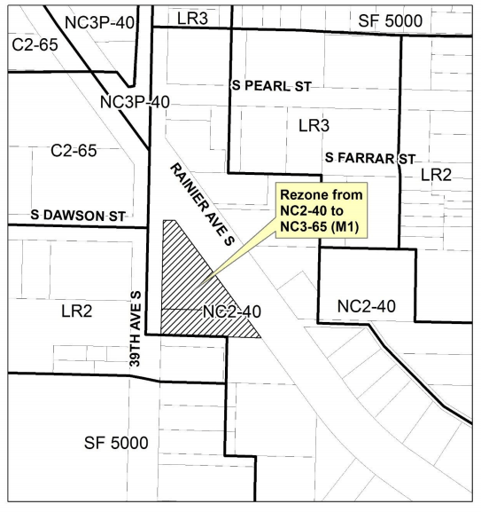 Map of the site zoning change and local context. (City of Seattle)
