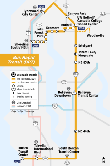 I-405 BRT and SR-522 corridors and station locations. (Sound Transit)
