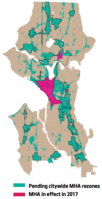 Where MHA was in effect in 2017. (City of Seattle)