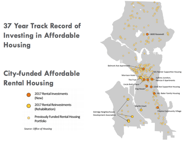 Where OH has made affordable housing investments in past years. (City of Seattle)