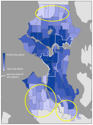 Areas where bike availability is very poor in the city. (City of Seattle)