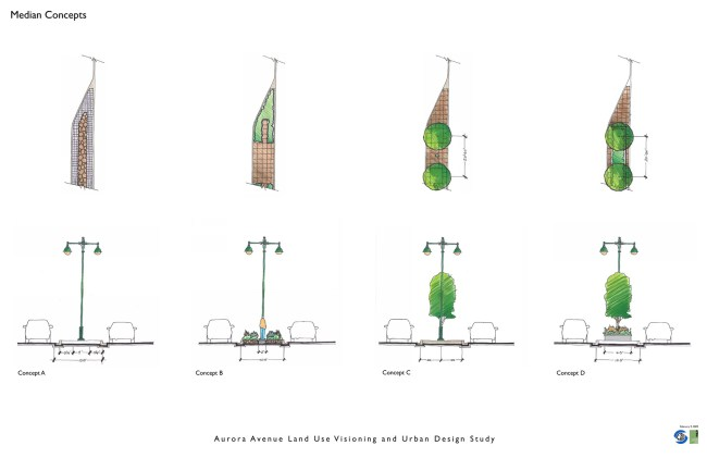 Seattle's Planning Department studied a planted median for Aurora in 2009 providing four varying options of execution. (Image from 2009 Visioning Plan)